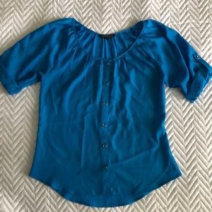 Express button front blouse